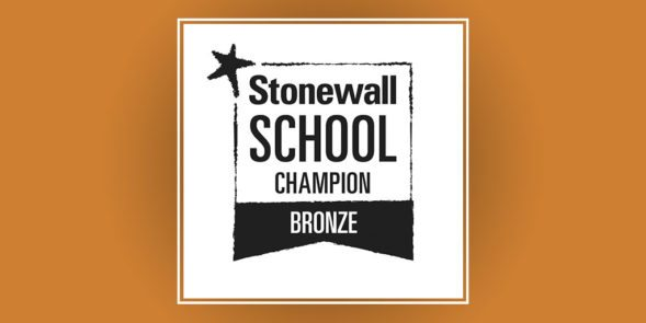 Black and white Stonewall School Champion Bronze logo on a bronze coloured background