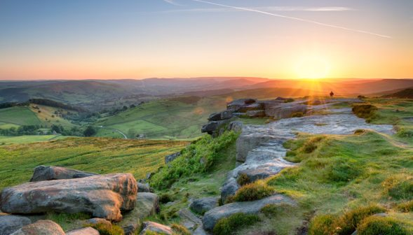 Beautiful summer sunset from the top of Higger Tor near Sheffield in the Peak District National Park